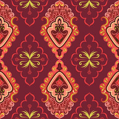 Seamless red retro wallpaper vector background.