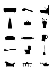 Set of vector icons bath and toilet rooms for everyday use