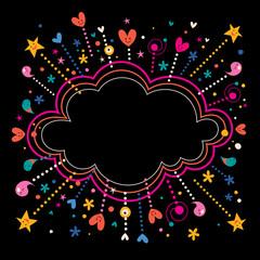 happy fun star bursts cloud shape banner frame background