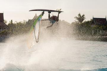 Windsurfing session in Siam park. PWA2014 Tenerife