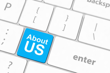 concepts of 'about us', message on keyboard enter key.