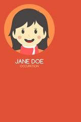 woman cartoon theme business card