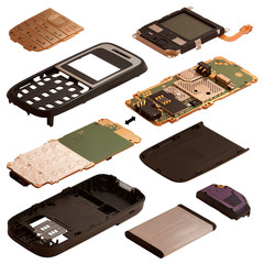 Isometry. The disassembled mobile phone isolated on a white back