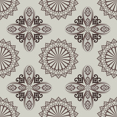 Seamless brown oriental vector pattern.