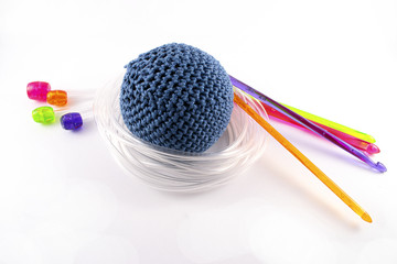 Tunisian crochet hook and juggling ball