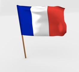 waving france flag on the flag pole