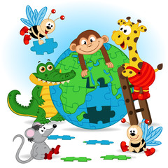 animals puzzle earth - vector illustration, eps