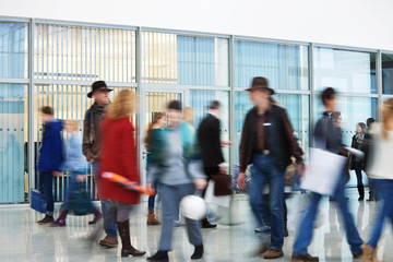 Shoppers Rushing through Corridor, Motion Blur