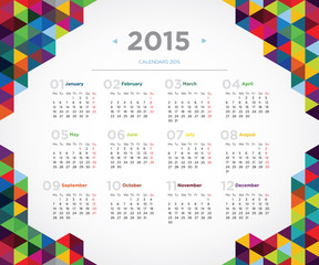 Vector template design calendar 2015