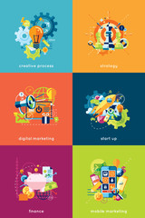 Vector illustration set of concepts for business and finance