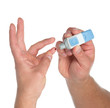Diabetes lancet in hand prick finger to make punctures