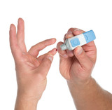 Diabetes lancet in hand prick finger to make punctures poster