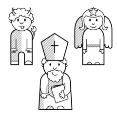 Saint Nicholas, angel and devil as black lined icons