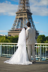 Beautiful just married couple in Paris