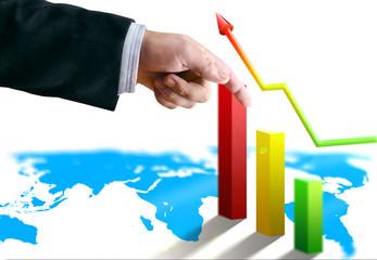 businessman hand with finance banks economy