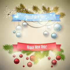 """Set of  Ribbons, Labels, Tags """"Merry Christmas and Happy New Yea"""