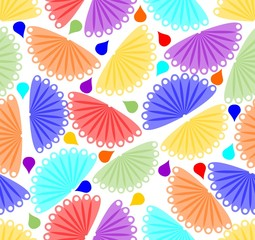 Cheerful colorful background with fan motif