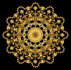 Gold geometric symmetric motif on the black background