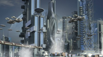 Futuristic cityscape with skyscrapers and hoovering aircrafts