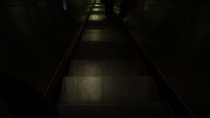 Escalator down to subway train station