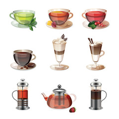 Set of icons of coffee, tea and sweets