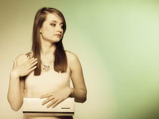 Fashion girl with elegant handbag bag