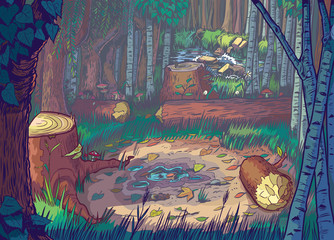Vector Cartoon Illustration of A Forest Clearing Scene