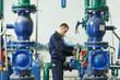 heating engineer repairman in boiler room - 69219322
