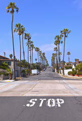 View of a street in San Diego California.