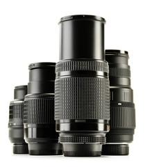 Photo zoom lenses isolated on white background