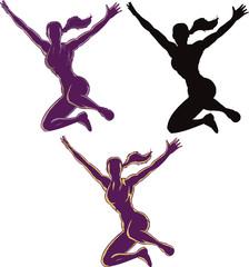 Jumping Outline girl