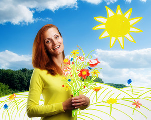 Smiling happy young woman with flowers