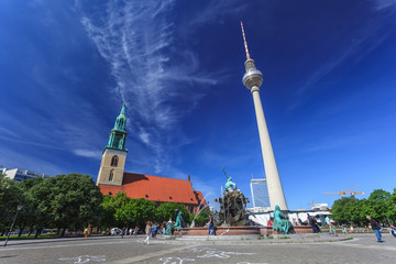 Berlin TV tower and Saint Mary's Church, Berlin, Germany