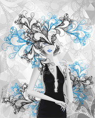 Beautiful silver girl with doodle abstract mask