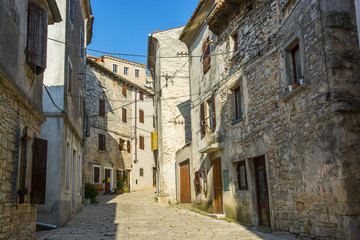 Old and narrow street in Bale town, Istria, Croatia