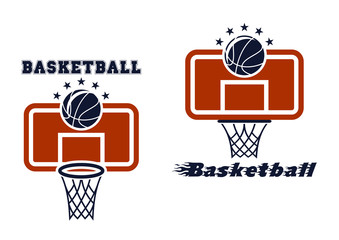 Backboard and basketball symbols