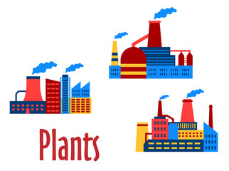 Flat factories and plants icons