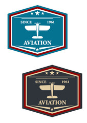 Aviation symbol or insignia with airplane