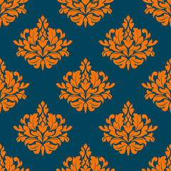 Floral seamless pattern with orange on indigo