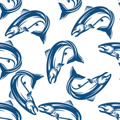 Salmon fish seamless pattern