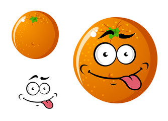 Happy smiling cartoon orange fruit