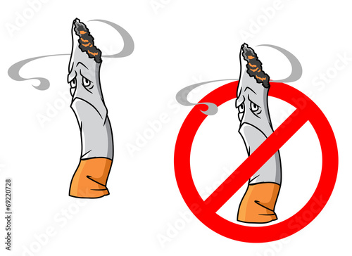 Cartoon unhappy cigarette with stop sign - 69220728
