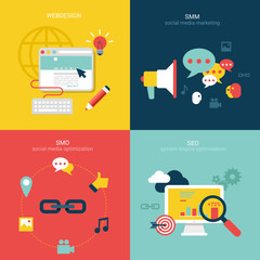 Flat vector illustration concept seo smo smm
