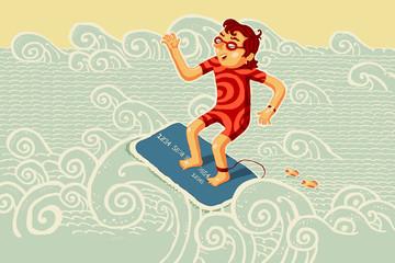 Серфингист на кредитной банковской карте покоряет волну.