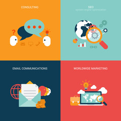 Flat vector illustration concept seo marketing