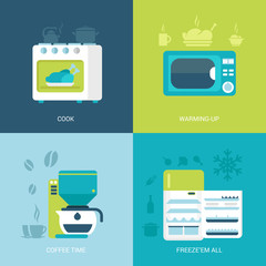 Flat design vector illustration kitchen electronic