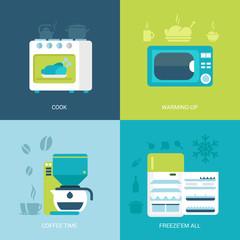 Flat design vector illustration kitchen electronic