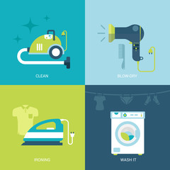 Flat design vector illustration home electronics
