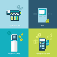 Flat design vector illustration bank terminal atm