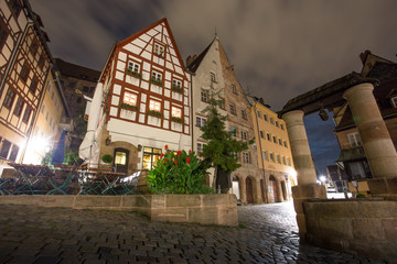 albrecht duerer place nuernberg at night